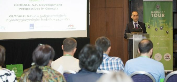 """გარემოს დაცვისა და სოფლის მეურნეობის მინისტრმა ლევან დავითაშვილმა კონფერენცია """"GLOBAL G.A.P განვითარების შესაძლებლობები საქართველოში"""" გახსნა."""